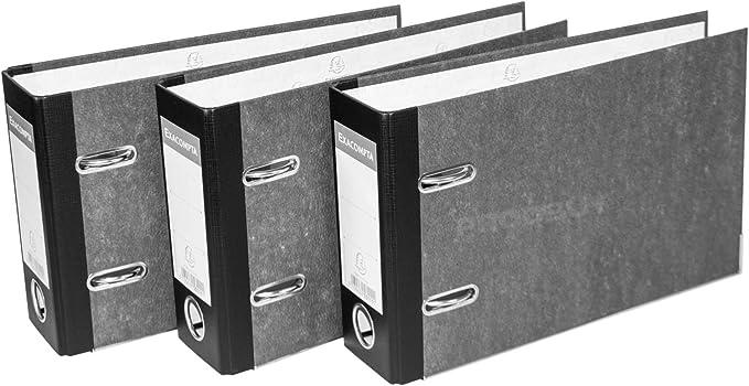 Pack de 3] archivador de palanca de mármol negro tamaño medio A5 ...