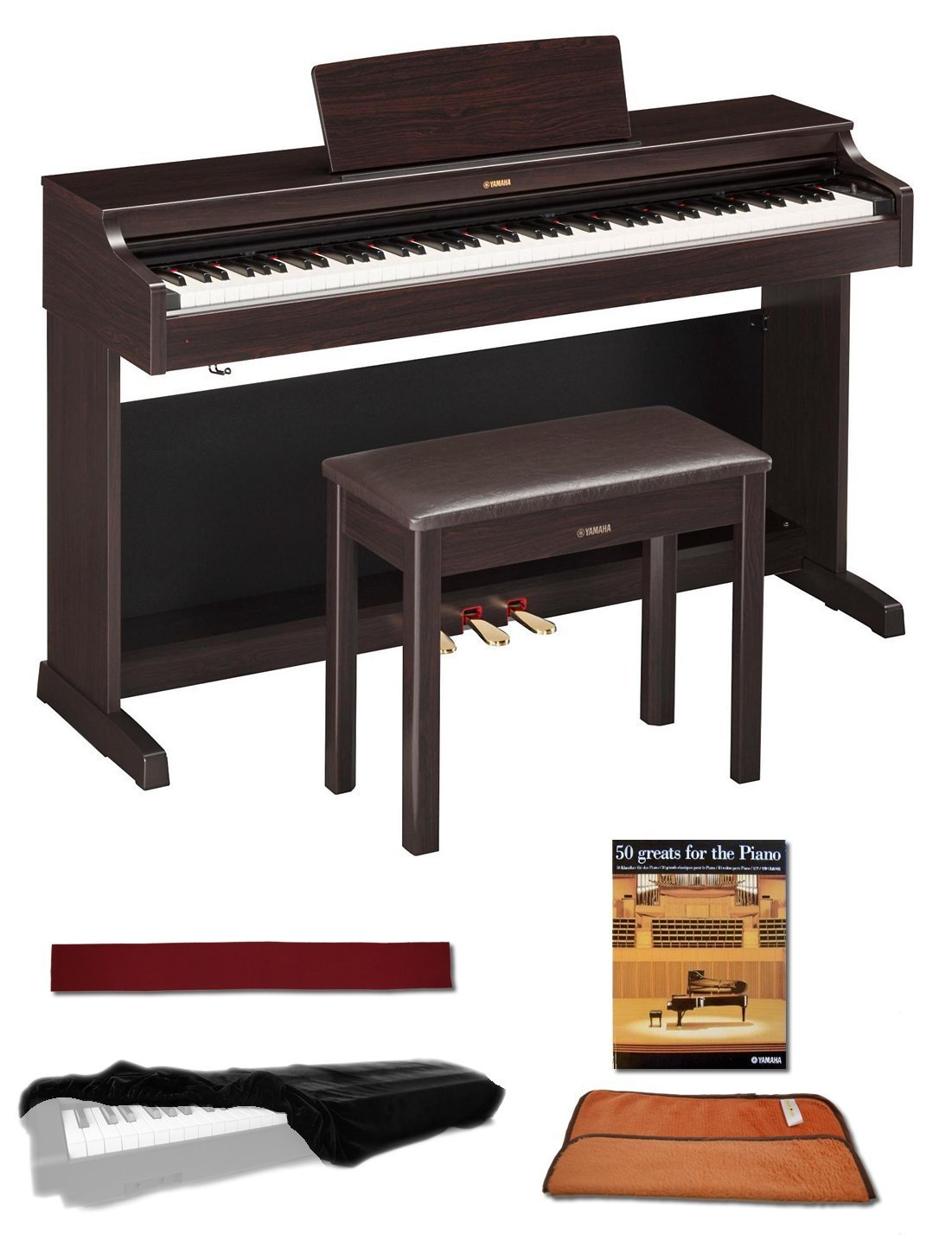 Yamaha YDP143R Rosewood 88 Weighted Keys Digital Piano keyboard Bundle with Matching Bench, Juliet Music Piano Dust Cover, Key Cover, Polish Cloth and Manuscript Book JMYDP143