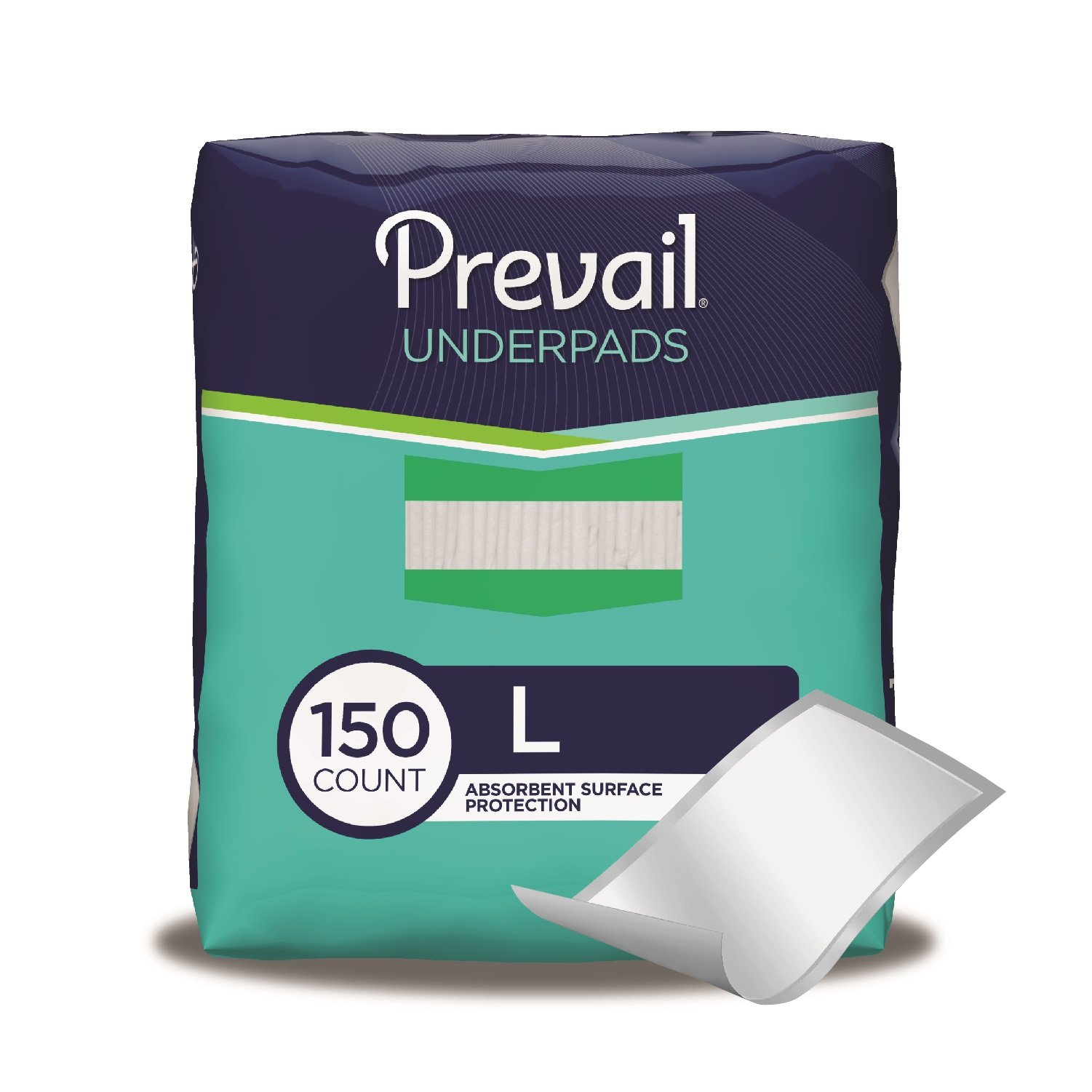 Prevail Fluff Underpads Large 150 Total Count (Packaging May Vary) Non-Slip Leakage