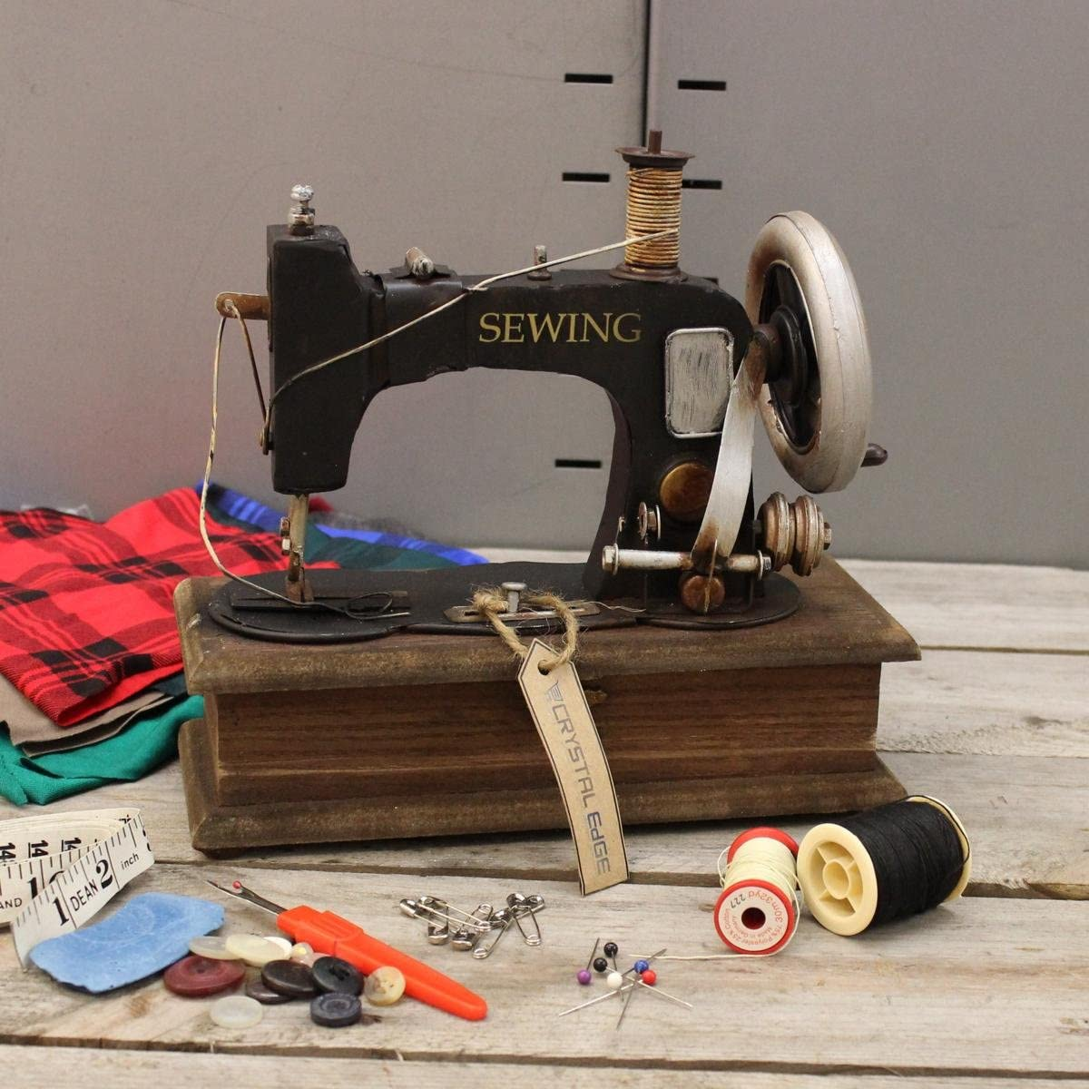 Diseño de estilo antiguo para máquina de coser con joyero con ...