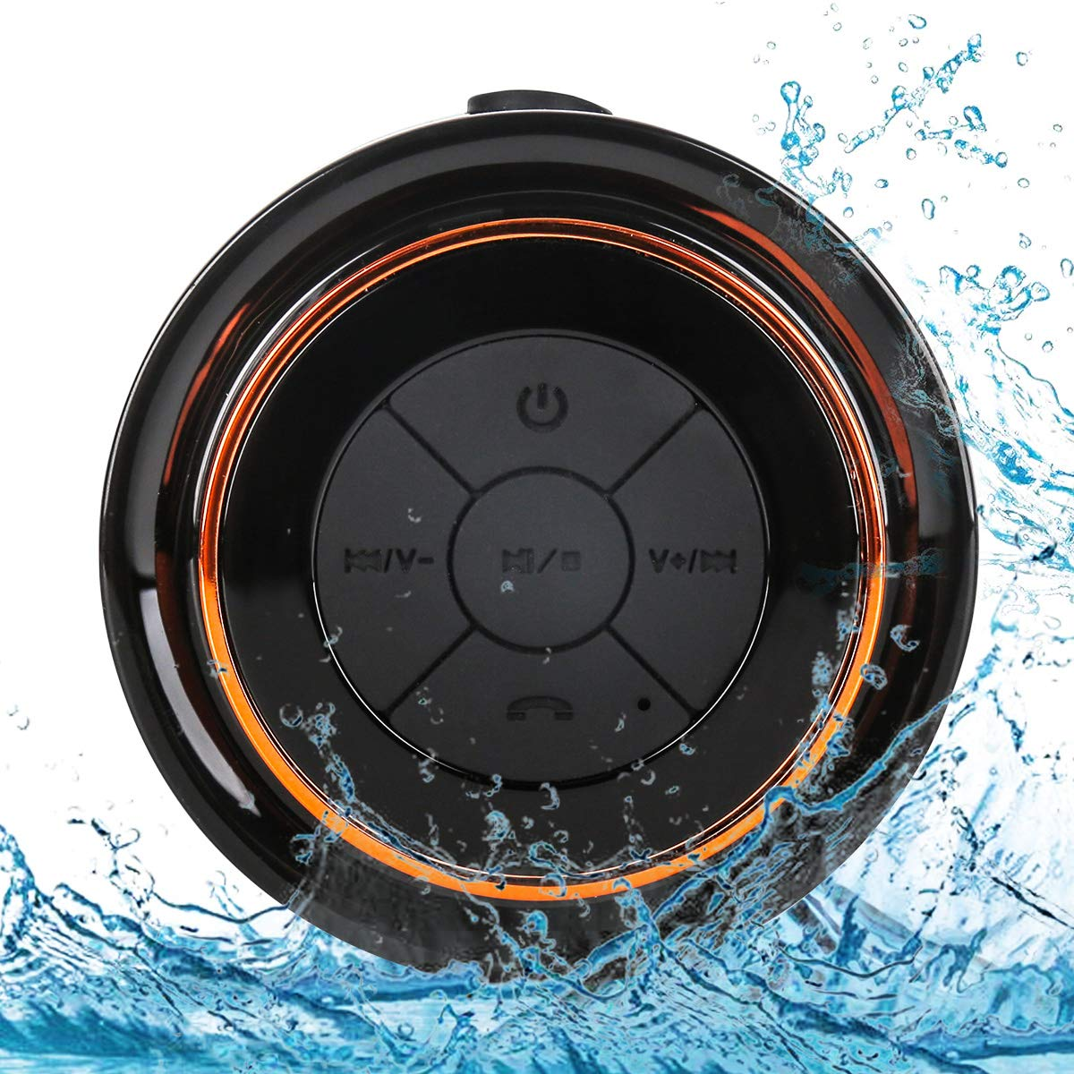 Bluetooth Shower Speakers, HAISSKY Portable Wireless Waterproof Speaker with FM Radio & Suction Cup, Pairs Easily to Your Bluetooth Devices - Phones, Tablets, Computer (Black & Orange) by HAISSKY