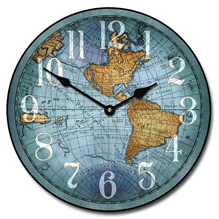 Vincenzo Blue World Map Wall Clocks, 10-inch to 60-inch. Whisper Quiet, non-ticking movement.