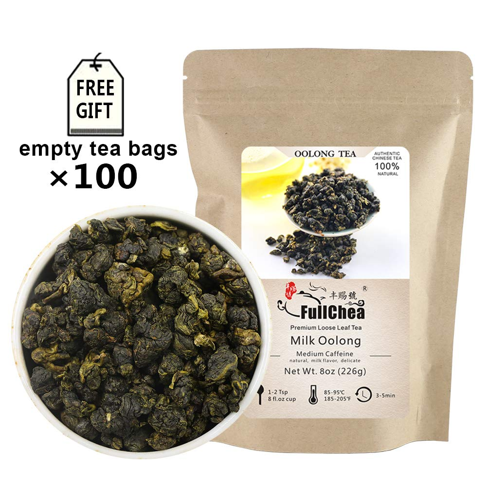 FullChea - Milk Oolong Tea - Oolong Tea Loose Leaf - Taiwan High Mountain Tea Jin Xuan Milk Oolong - Naturally Milky and Silky Aroma - Weight Loss Tea - 8oz / 226g