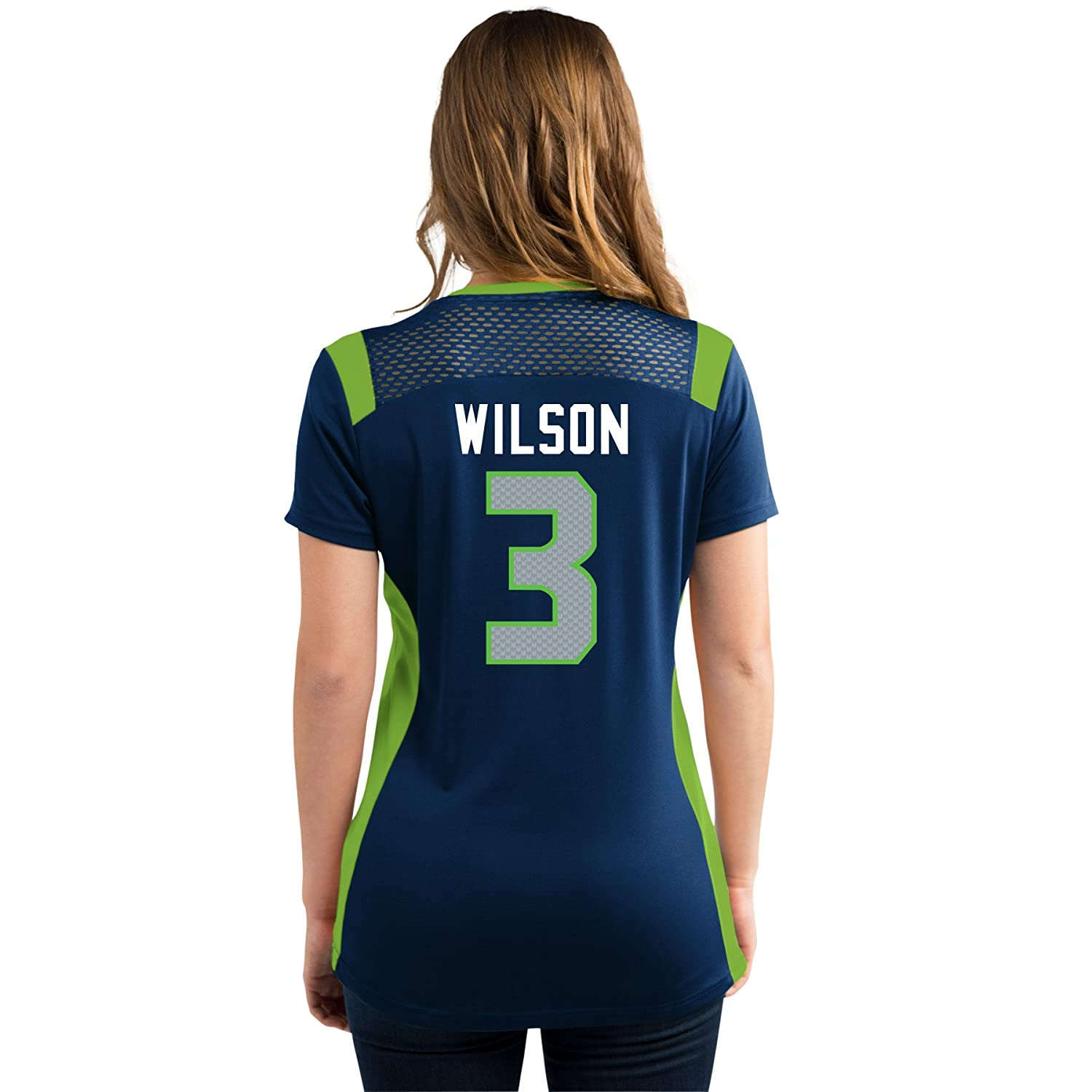 fe4f157c Russell Wilson Seattle Seahawks Women's Navy Draft Him Jersey Name and  Number V-Neck T-shirt