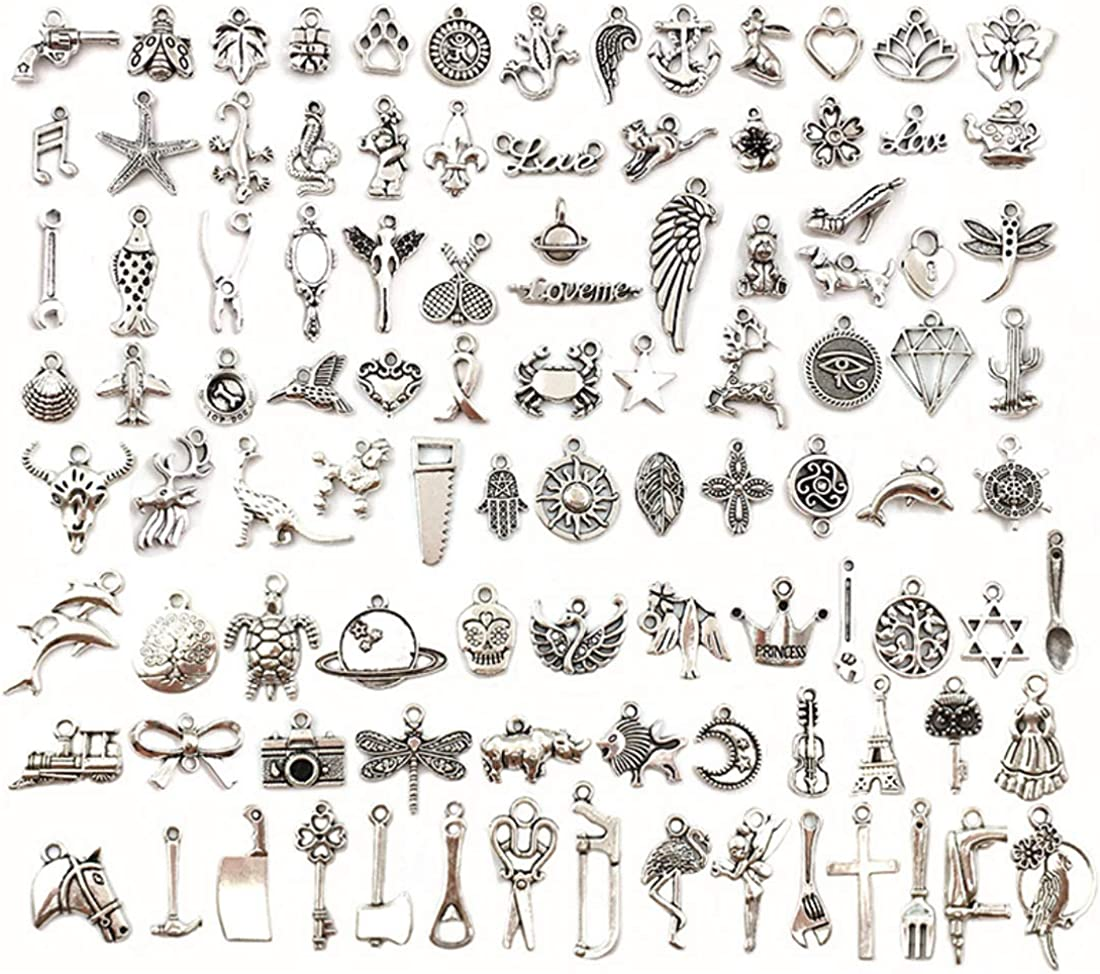 JIALEEY 100 PCS Wholesale Bulk Lots Jewelry Making Charms Mixed Smooth Tibetan Silver Metal Charms Pendants DIY for Necklace Bracelet Jewelry Making and Crafting