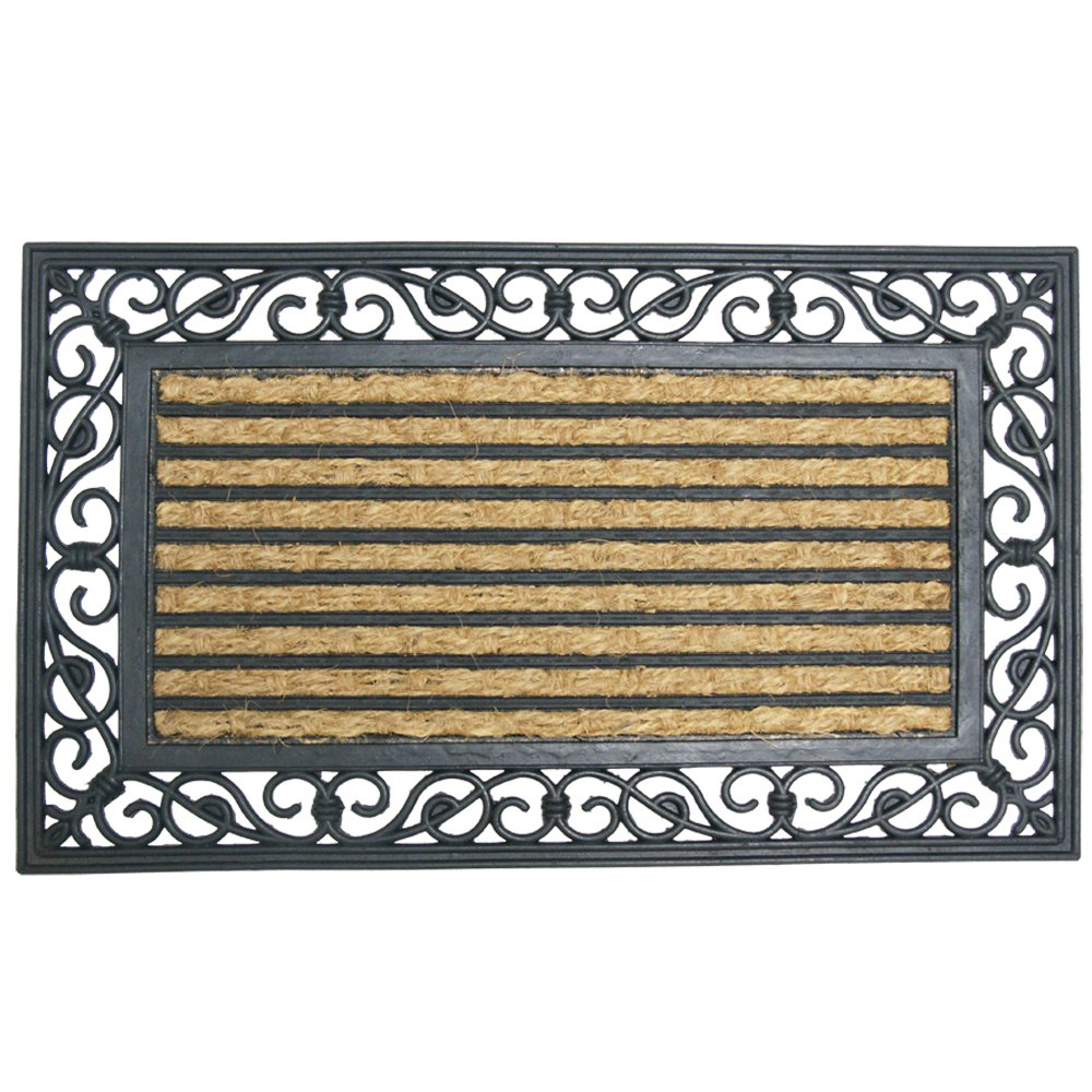 Rubber-Cal 10-102-515 Casablanca Outdoor Coco Coir Doormat - 18 x 30 Inches - Decorative Rubber Doormat