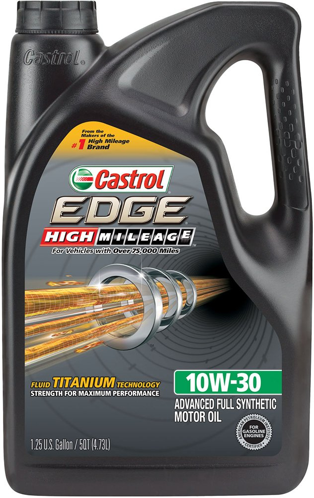 Castrol 03129C EDGE High Mileage 10W-30 Advanced Full Synthetic Motor Oil, 5 quart by Castrol