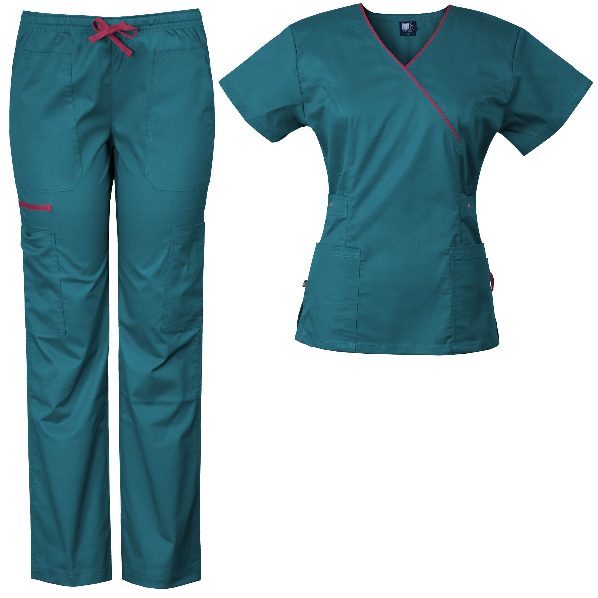Medgear Women's Stretch Scrubs Set 5-Pocket Top & Multi-Pocket Pants (XS, Teal/Hot Pink)