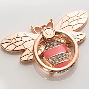 Bee Cell Phone Ring Holder Stand, Finger Ring Kickstand with Crystal Diamond Metal Phone Grip Ring Compatible with iPhone, Samsung, LG, Sony, HTC and More (Rose Gold)
