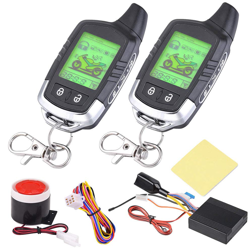 Yescom 2 Way Motorcycle Alarm 2 Big LCD Remote Engine Motorbike Start Anti-Theft Security System Scooter by Yescom