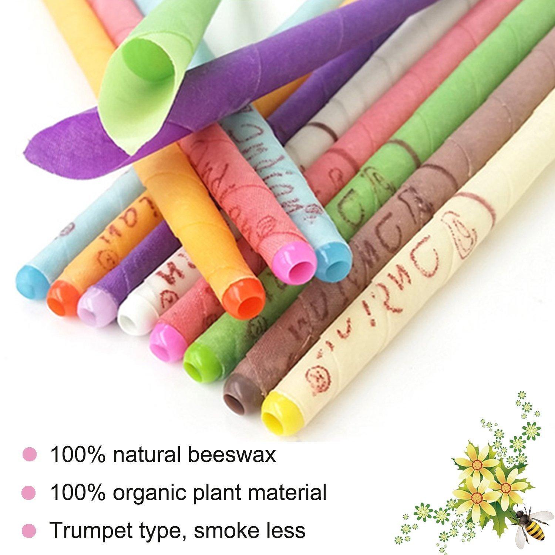 Velas para los oídos, remoción de cera para los oídos Velas de cera de abejas con fragancia cera natural colorida con discos de protección para el ...