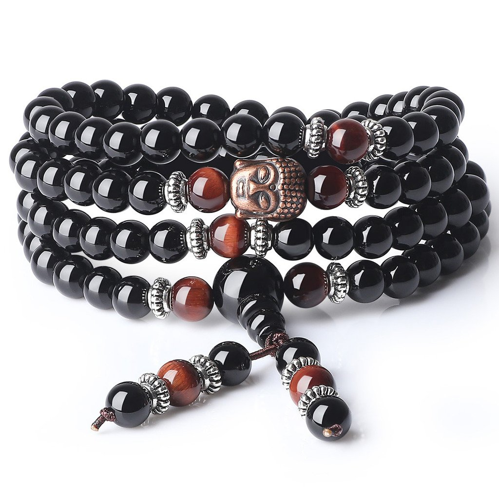 AmorWing 6mm Onyx Tiger Eye 108 Beads Stones Buddha Mala Bracelet Necklace N373-1