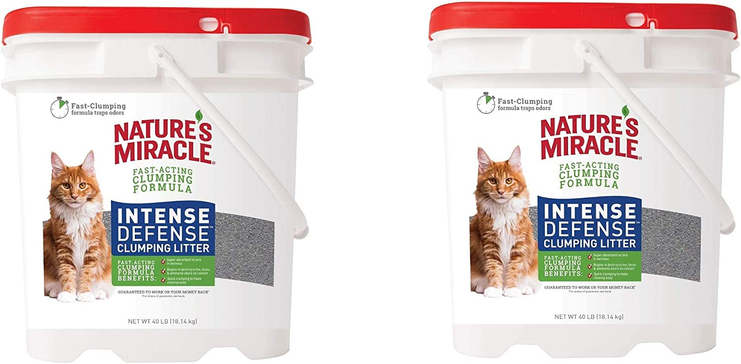 P-98134 Intense Defense Clumping Litter, Pail, Super Absorbent Fast-Clumping Formula, Dust Free, 40 Pound