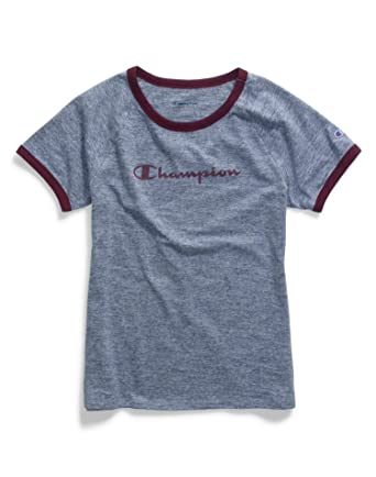 9ca007f8d392 Champion Women's Heritage Ringer Tee, Imperial Indigo Heather/Dark Berry  Purple, Large