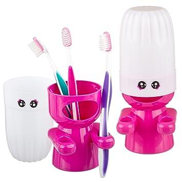 Zooky® Creativa gente feliz Cuarto de baño Porta Cepillo de dientes y pasta de dientes titular con tapa antipolvo / Organizador - Rosado: Amazon.es: Hogar