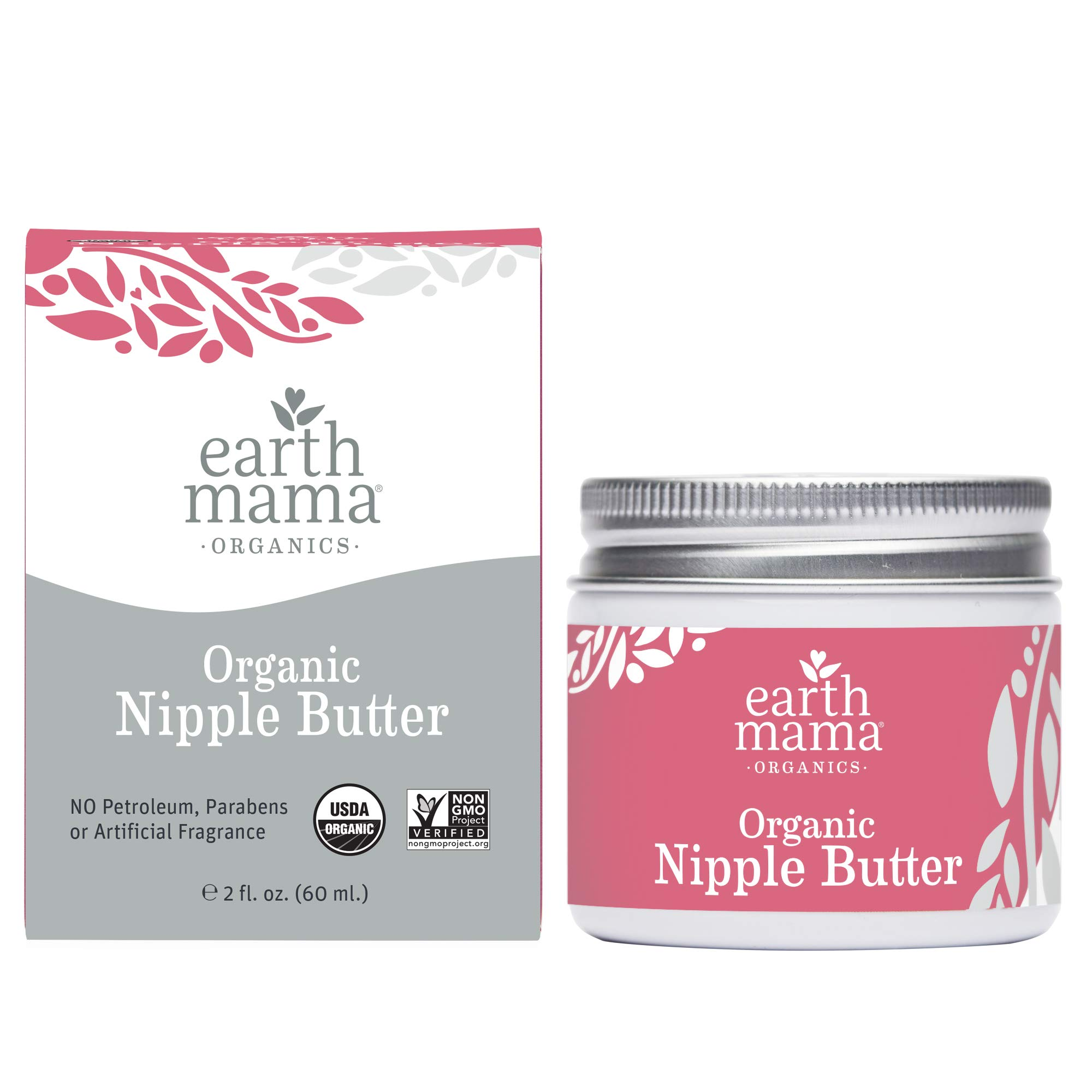 Organic Nipple Butter Breastfeeding Cream by Earth Mama | Lanolin-free, Safe for Nursing & Dry Skin, Non-GMO Project Verified, 2-Fluid Ounce (Packaging May Vary) by Earth Mama