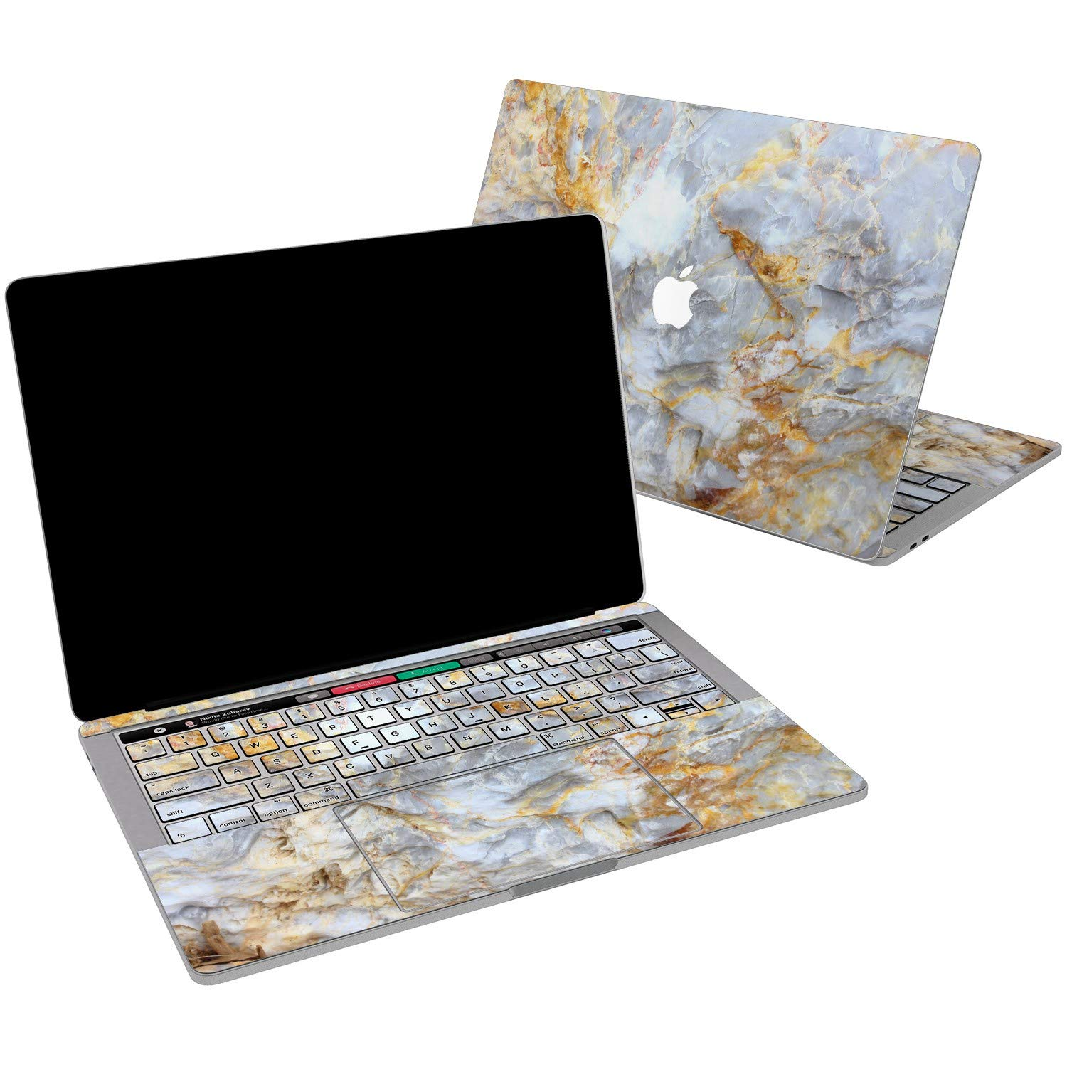 Lex Altern Vinyl Skin for MacBook Air 13 inch Mac Pro 15 Retina 12 11 2019 2018 2017 2016 2015 Abstract Pearl Marble White Nature Golden Chic Print Laptop Cover Decal Sticker Touch Bar Protective