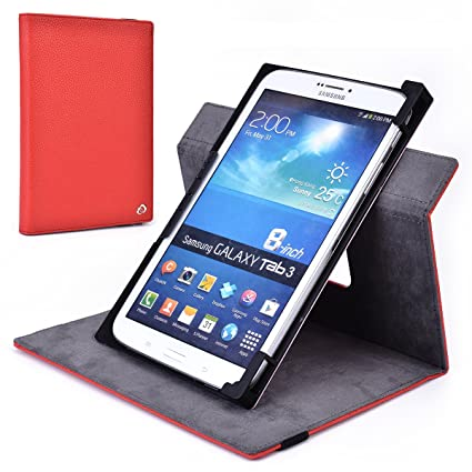 huge selection of 68bc4 75a02 Red Rotating Case Fits Samsung Galaxy Tab S2 8.0, Tab 4 8-inch, Tab 3  8-inch, Tab 2 7.0, Tab 3 7.0 Tablet   Solid Portrait or Landscape  Orientation ...