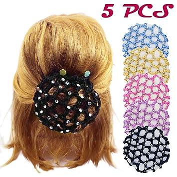 617681100dea Amazon.com   DLOnline 5PCS Women Girl Rhinestone Bun Cover Crochet ...