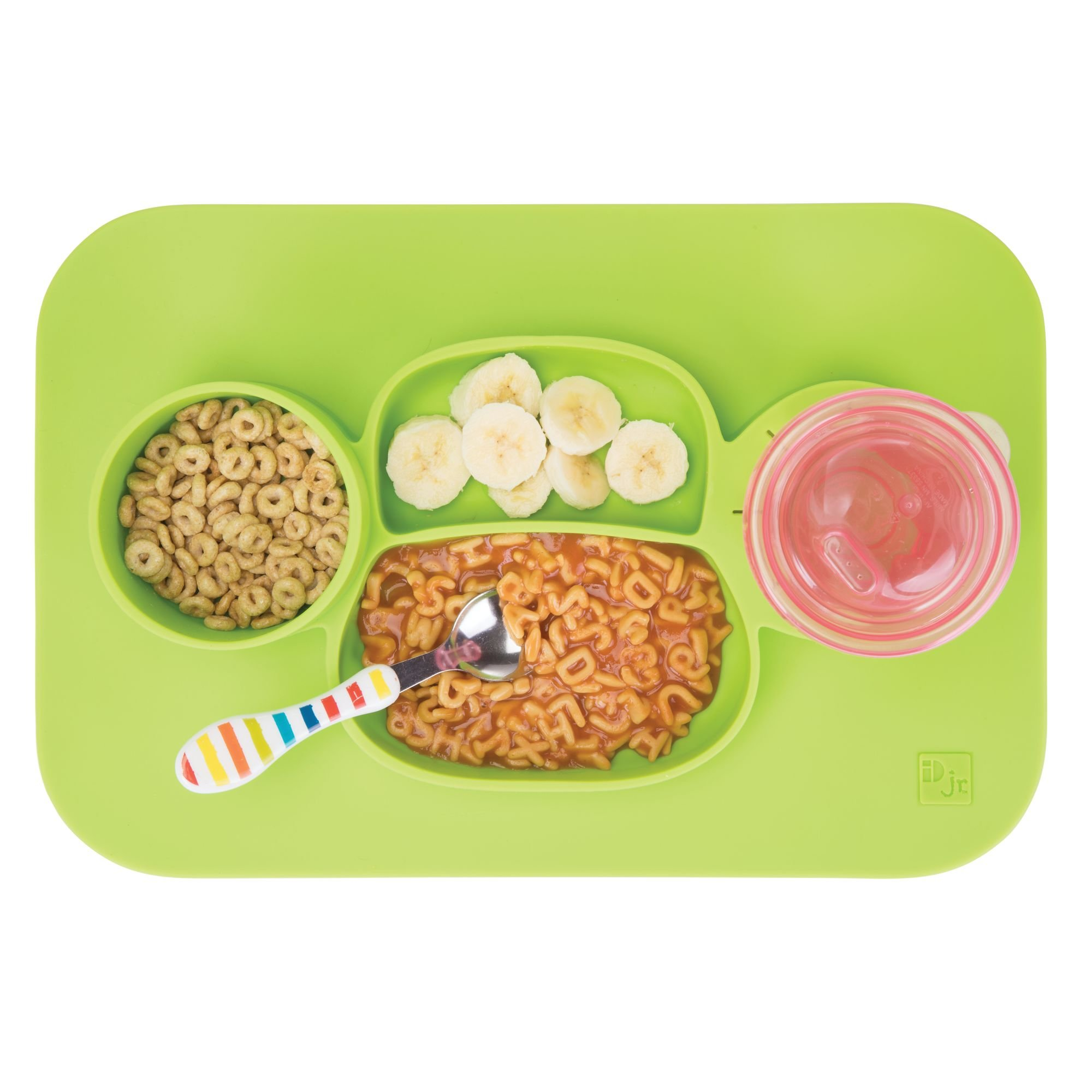 mDesign Silicone Mealtime Plate and Placemat for Babies, Toddlers, Kids - BPA Free, Food Safe – Stays in Place – 4 Sections - Microwave and Dishwasher Safe, Fun Monkey Design, Large, Lime Green