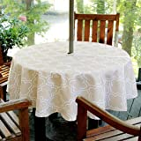 Lamberia Round Tablecloth with Umbrella Hole and Zipper for Patio Garden, Outdoor Vinyl Tablecloth Waterproof Spill-Proof Pol