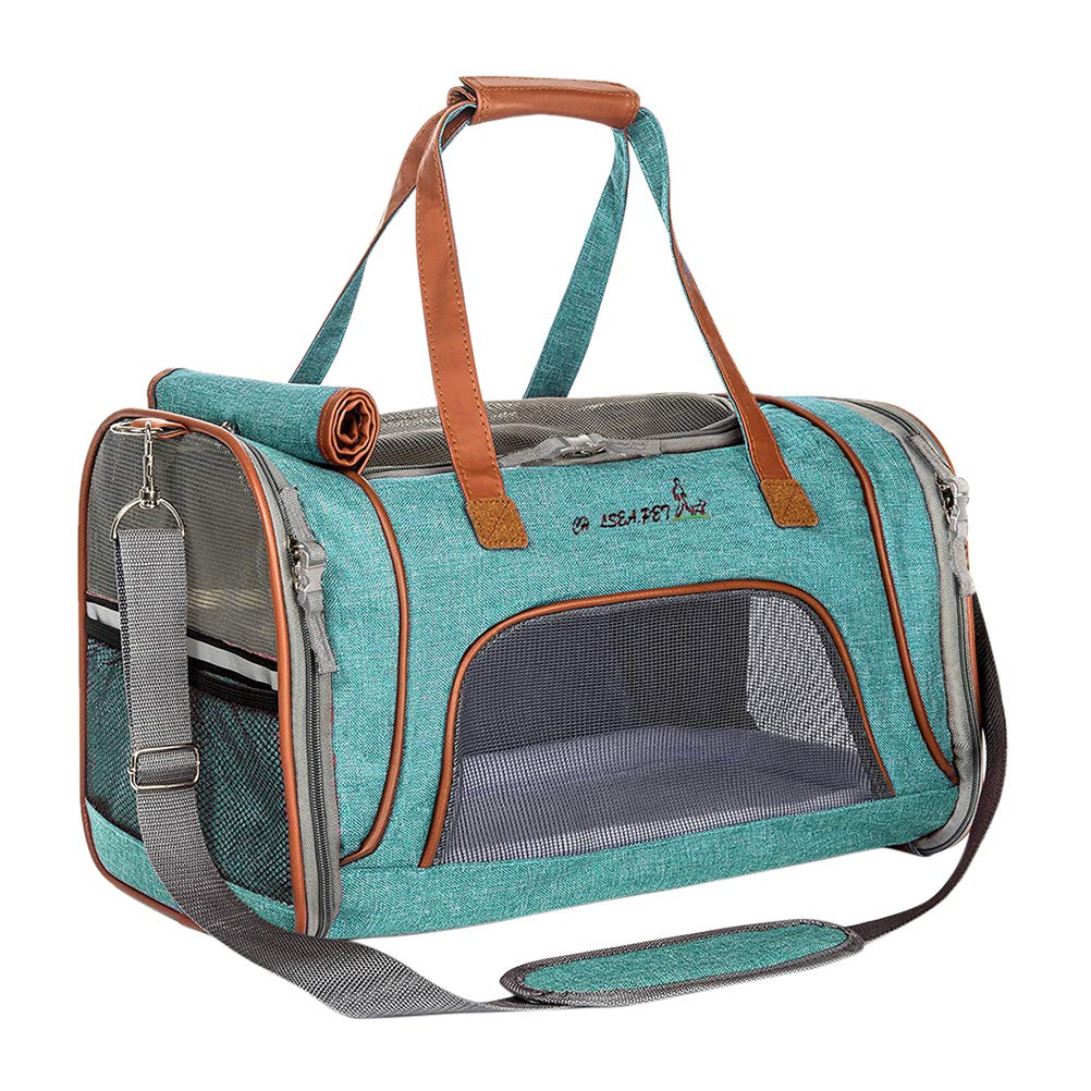Green 46L x 26W x 28H cm Green 46L x 26W x 28H cm Soft Side Pet Carrier Dog Travel Bag Airline Approved Collapsible Dog Tote Zhhlinyuan