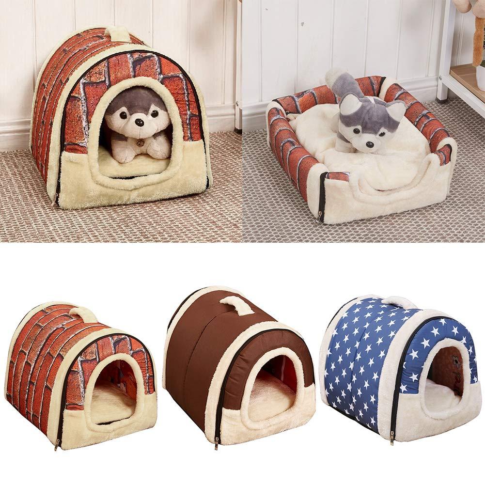 TTshonf Universal Pet House Brick Wall Stars Foldable All Seasons Warm Cat Dog Nest 1  L