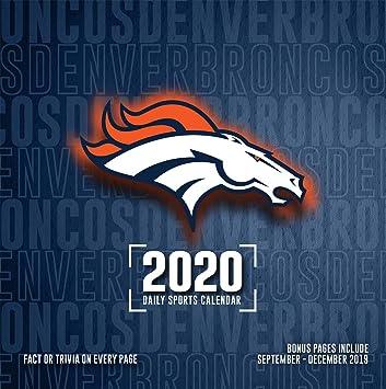 Denver Broncos Schedule 2020.Amazon Com Denver Broncos 2020 Calendar Office Products