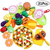 Cutting Play Food Toy Food Plastic Food Pretend Food Kitchen Toys for Kids, Toddlers, Boys and Girls, Backpack Included, 31 PCS