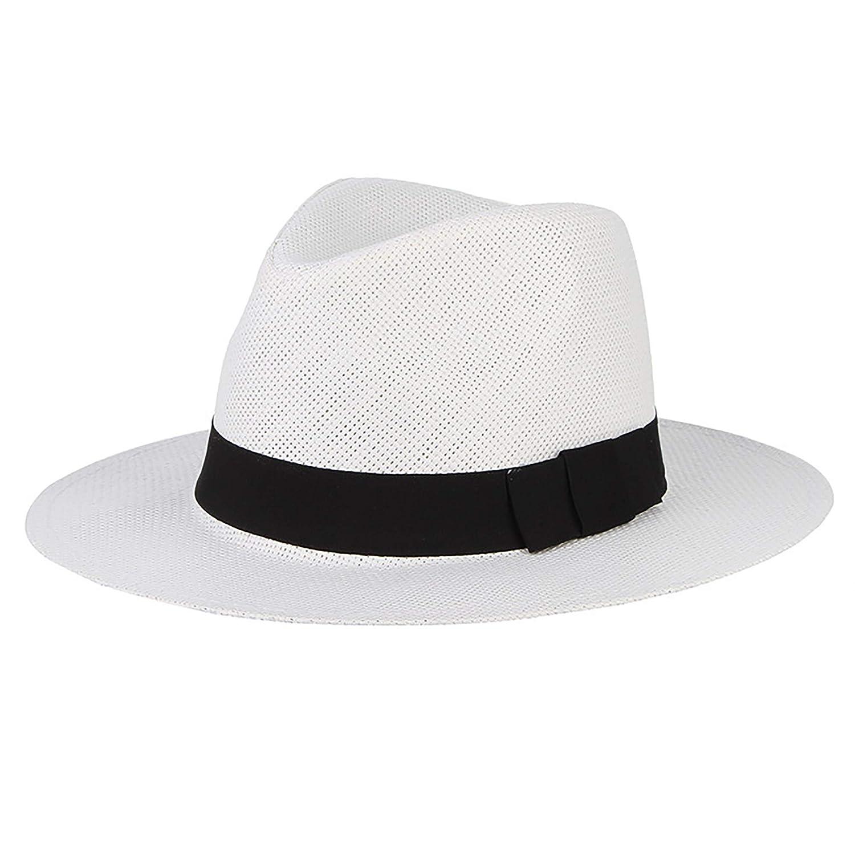 IL Caldo Men Wide Brim Straw Panama Hat Fisherman Hat Fedora Beach Sun Cap