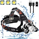 Neraon Brightest LED Headlamp 6000 Lumens, Zoomable 4 Modes LED Headlight USB Rechargeable, Waterproof LED Headlamp with 18650 Batteries and USB Cable(input and output), Running Hiking Camping