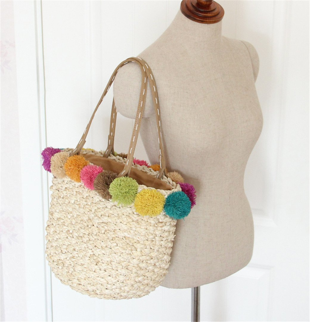 Bolso de playa de rafia hecho a mano con bolas de pompones, cestas ...