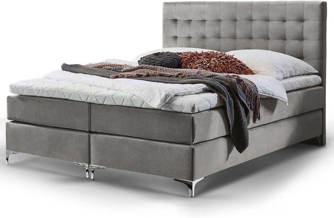 Cama con somier Pisa, tela de terciopelo, sobrecolchón de espuma fría H3, colchón con muelles de bolsillo, cama doble de hotel de diseño, gris, 160 x ...