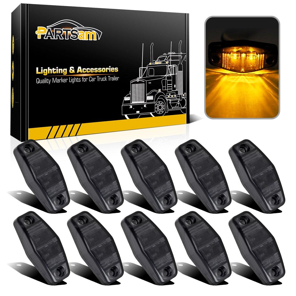 Partsam 10pcs 2.5'' Mini Oval Amber Led Side Marker Clearance Trailer Lights 2 Diodes Smoke Lens Fender Mount Lights Identification Lights Waterproof 12V Sealed Surface Mount (2.05''x1.06'')