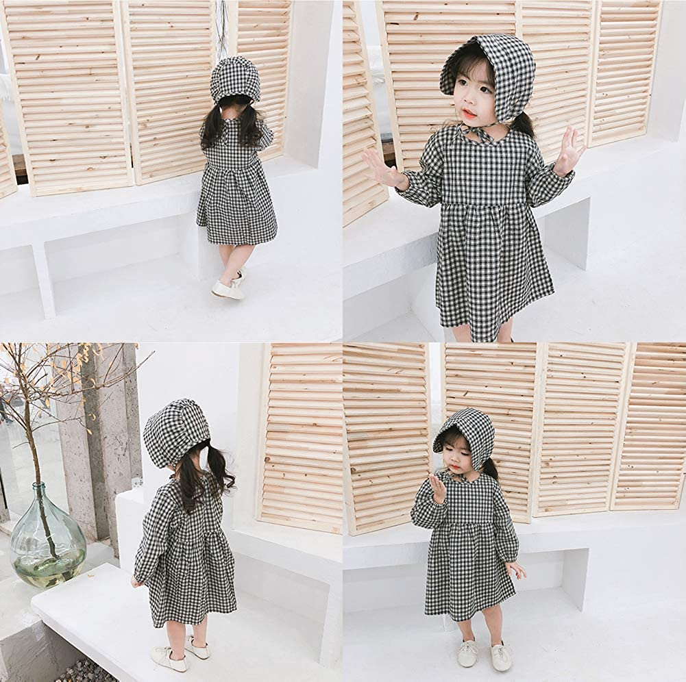 HUHUXXYY Kid Girl Outfits Long Sleeve Round Neck Plaid Casual Pleated Dress with Hat
