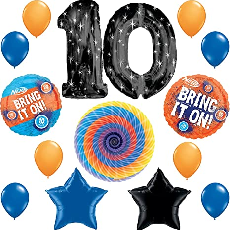 Nerf Party Supplies Happy 10th Birthday Balloon Decorations Bundle