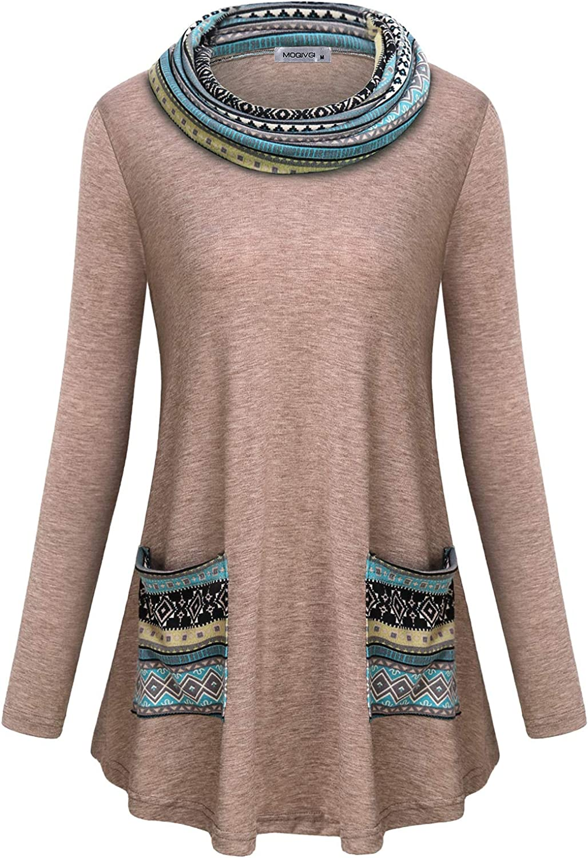 MOQIVGI Womens Long Sleeve Tunic Tops Cowl Neck Pullover Sweatshirts with Pockets