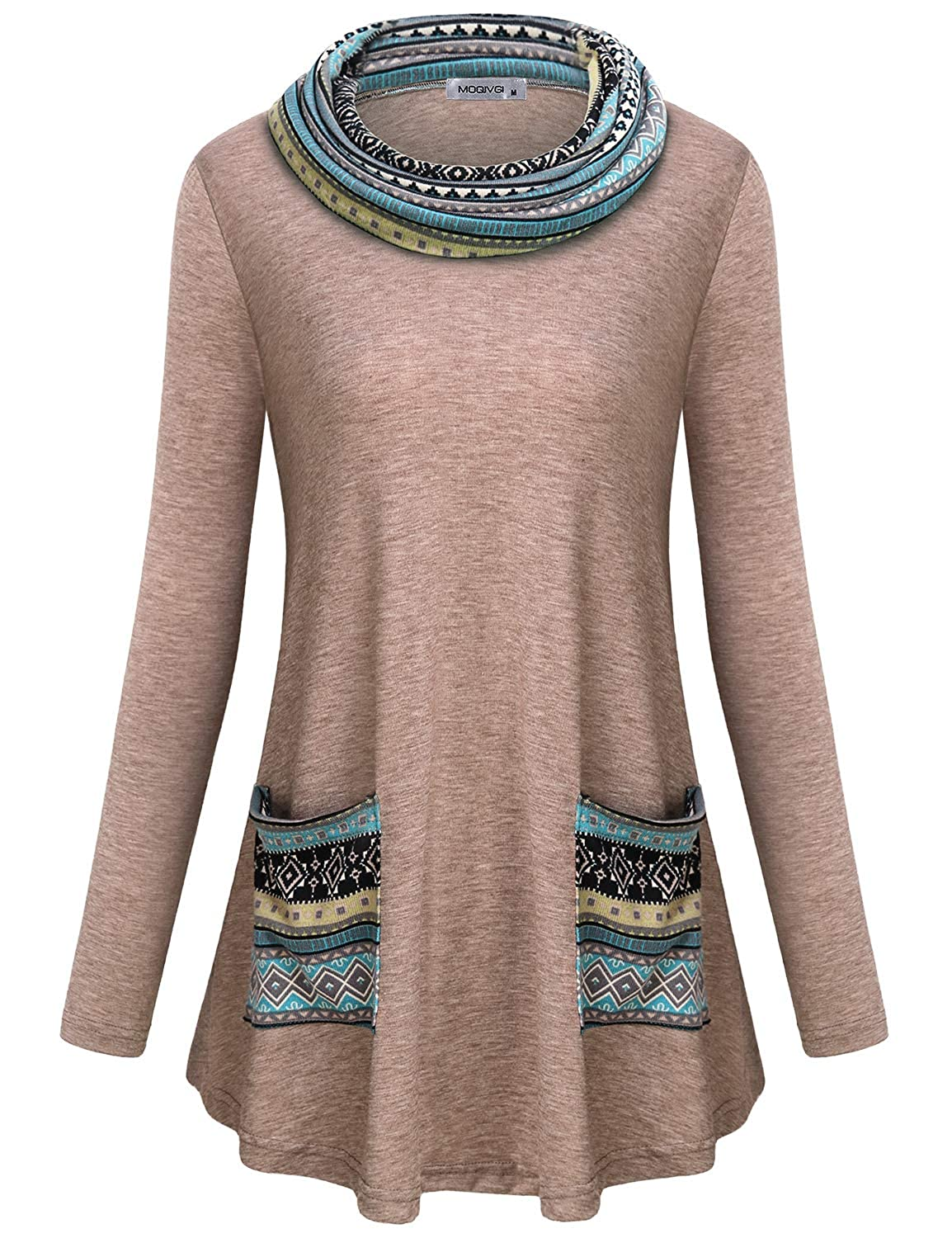 290c151eaec12 MOQIVGI Womens Long Sleeve Tunic Tops Cowl Neck Pullover Sweatshirts with  Pockets at Amazon Women s Clothing store