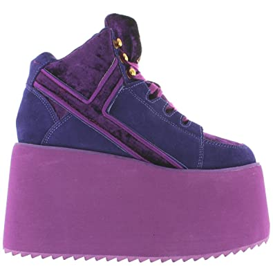 34dd144d0b9a2 Amazon.com | Y.R.U. YRU Qozmo Hi 2 - Purple Mega Platform Wedge Sneaker |  Fashion Sneakers