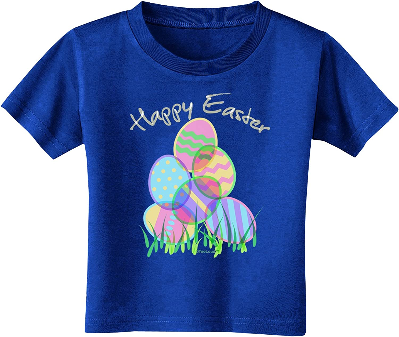TooLoud Happy Easter Gel Look Print Toddler T-Shirt Dark