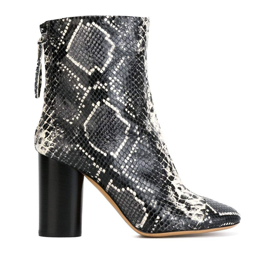 ZYZ.ZZ Womens high-Heeled Ankle Boots Womens Ankle Boots Comfortable Thick Heel Skin Pattern Pointed,B,37
