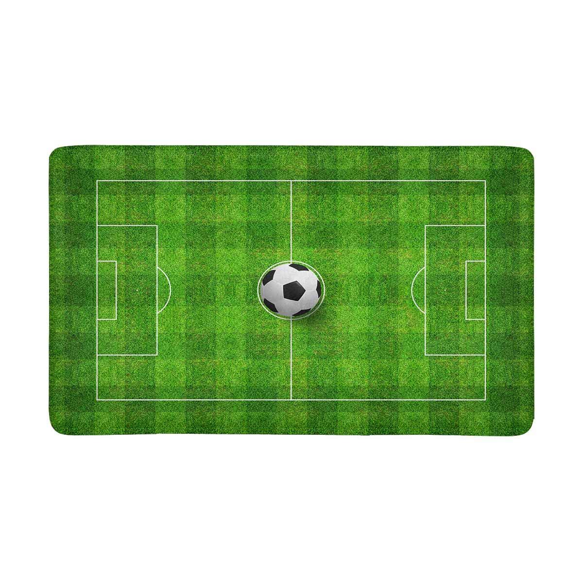 InterestPrint Top Views of Soccer Ball on Green Grass of Soccer Field Doormat Non-Slip Indoor and Outdoor Door Mat Rug Home Decor, Entrance Rug Floor Mats Rubber Backing, X-Large 30''(L) x 18''(W)