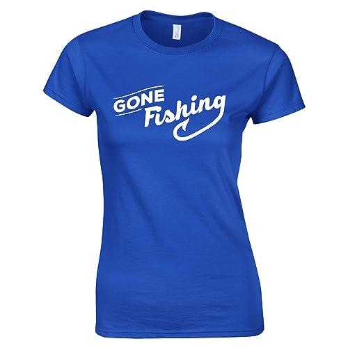 Tim and Ted Gone Fishing Stampato Slogan Citazione Design Premium di qualità della novità T-Shirt da Donna