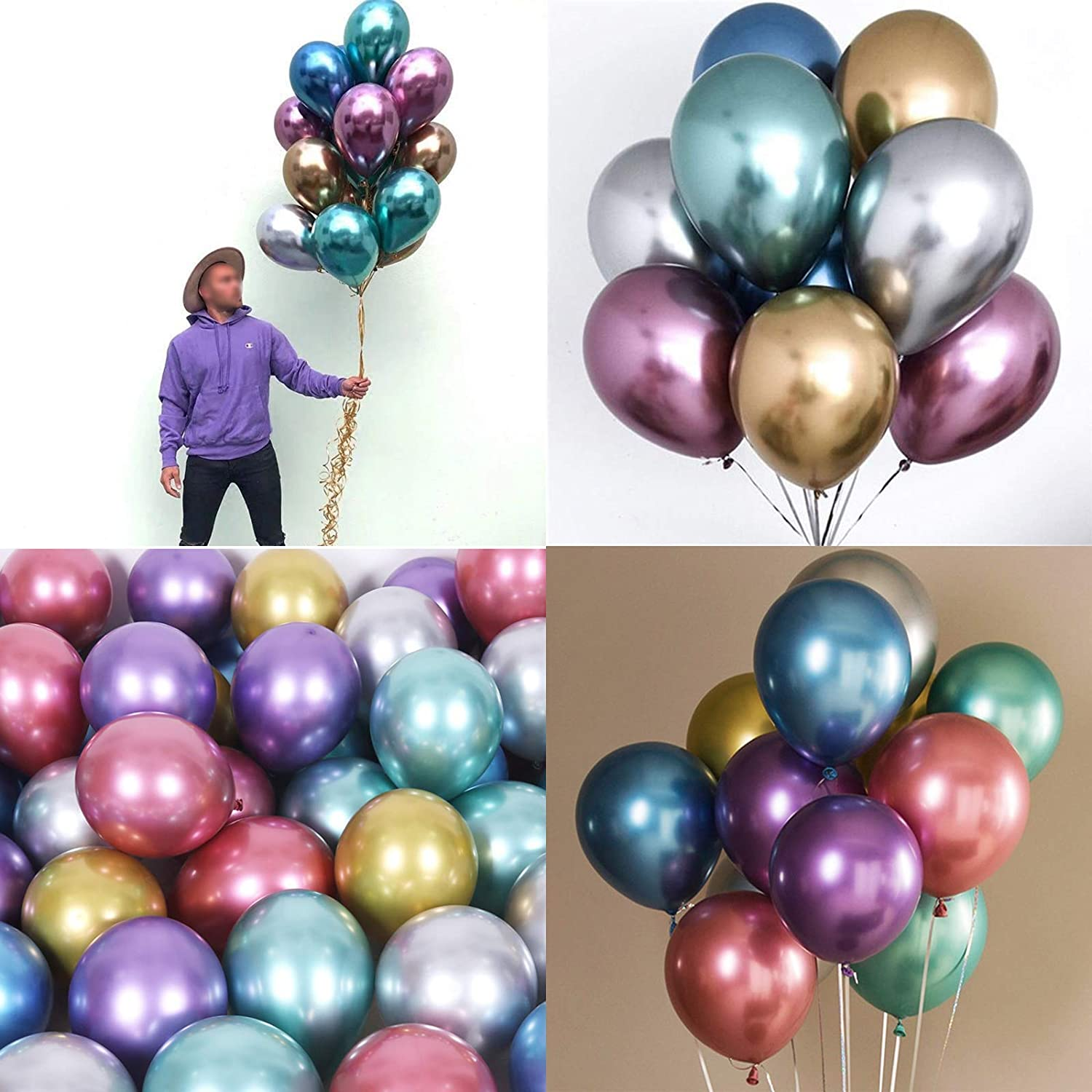 Metallic Balloons Chrome Shiny Latex 12 Inch Thicken Balloons for Wedding Party Baby Shower Christmas Birthday Carnival Party Decoration Supplies