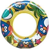WenYing Swimming Tube for Kids, 60CM Inflatable Swimming Pool Floats, Children Dinosaur Penguin Swim Ring, Summer Beach Toy 24 Inch, Yellow