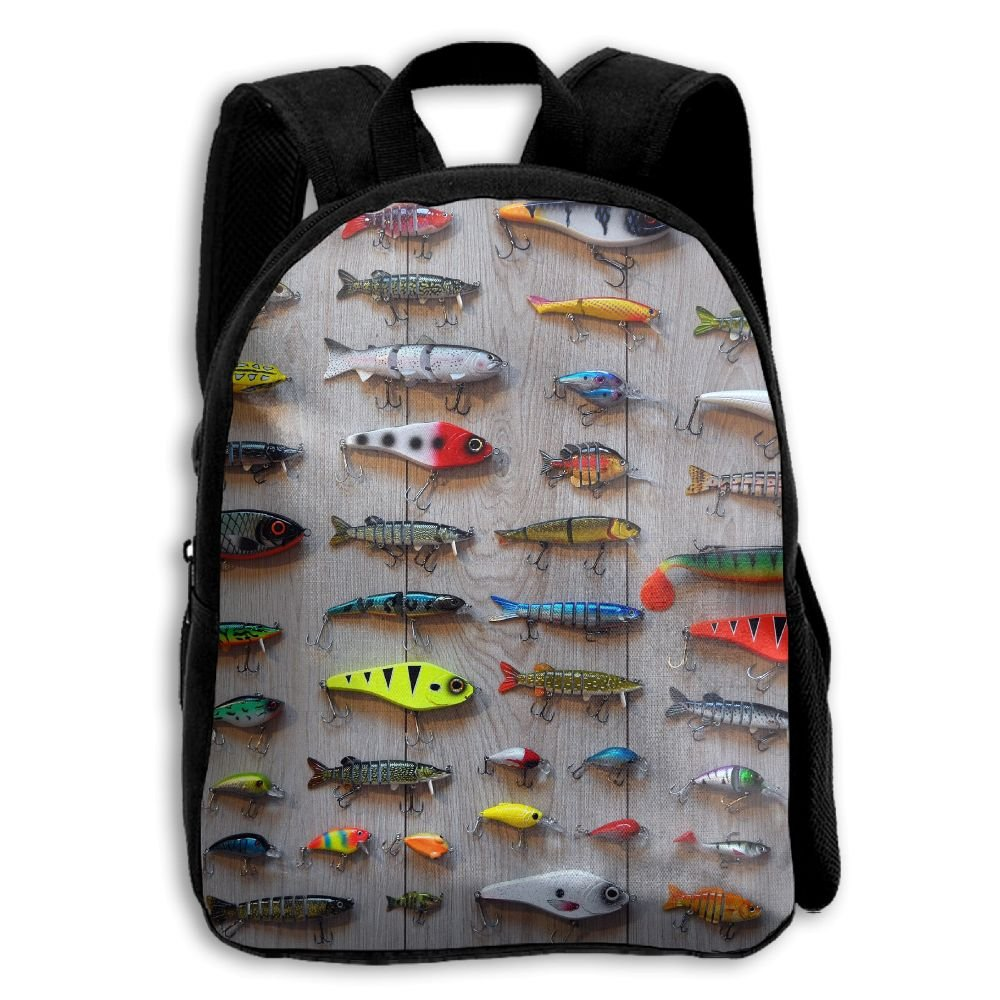 fidaljfに最適な餌釣り子供の3dプリントファスナー付き旅行バッグ学校バックパック   B07DN8CS1M