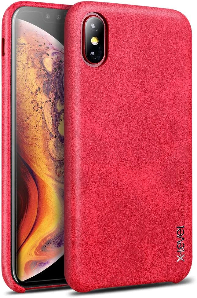 Case Compatible iPhone Xs and X, X-Level [Vintage Series] Premium PU Leather Slim Fit Ultra Light Soft Touch Protective Mobile Cell Phone Case Cover Compatible Apple iPhone Xs (2018)/X(2017)-Red