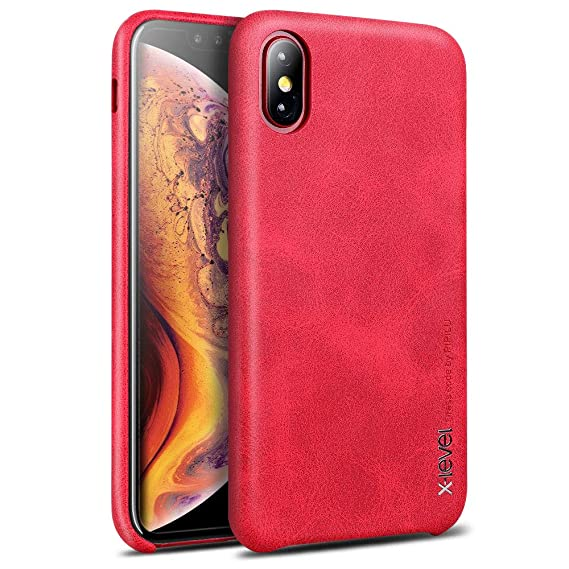 iphone xs leather case red
