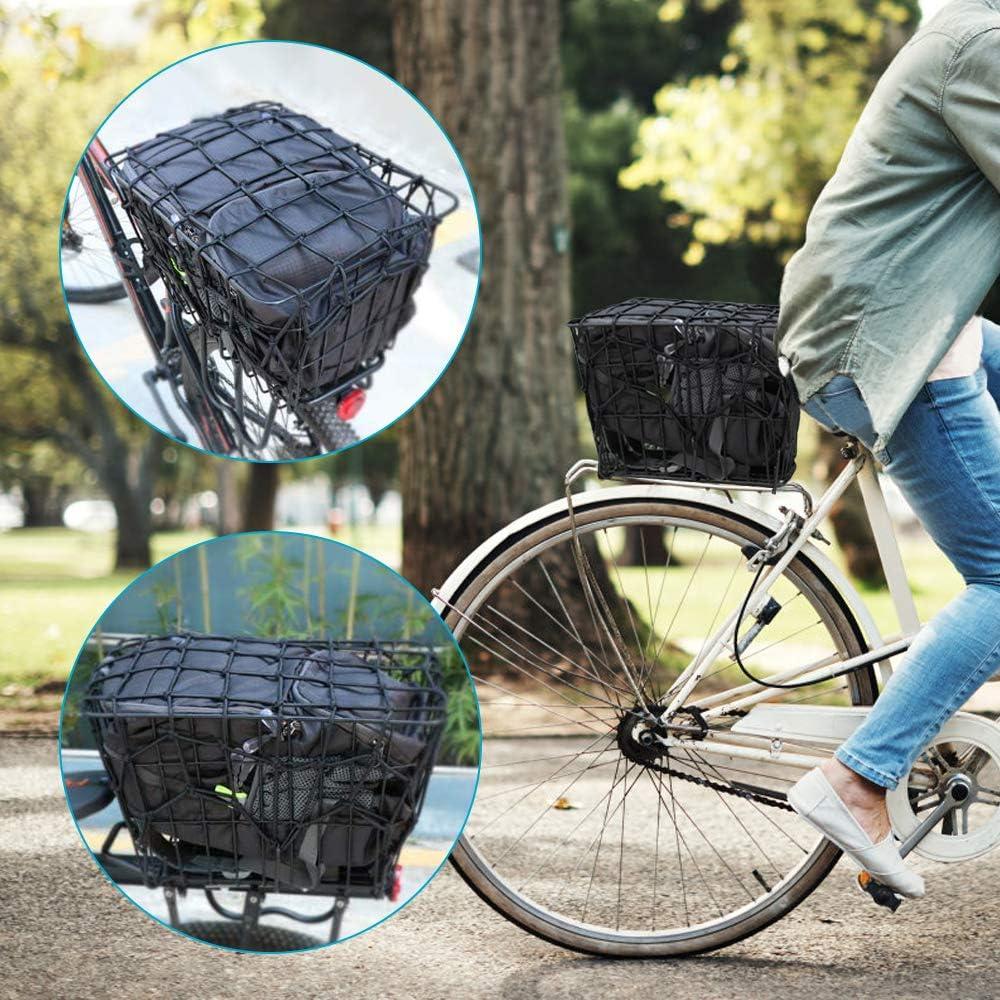 Codirato 2 Stück Motorrad Netz Gepäcknetz Helmnetz Schwarzes Fahrrad Netz Mit Haken Motorrad Spannnetz Elastisches Sicherungsnetz Für Motorrad Fahrrad Transport 30 X 30cm Baumarkt