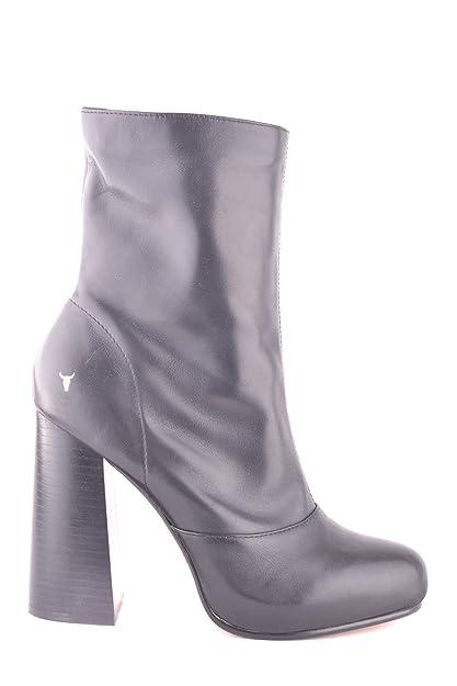 5bf4b095d7e Windsor Smith Women s MCBI372003O Black Leather Ankle Boots  Amazon ...